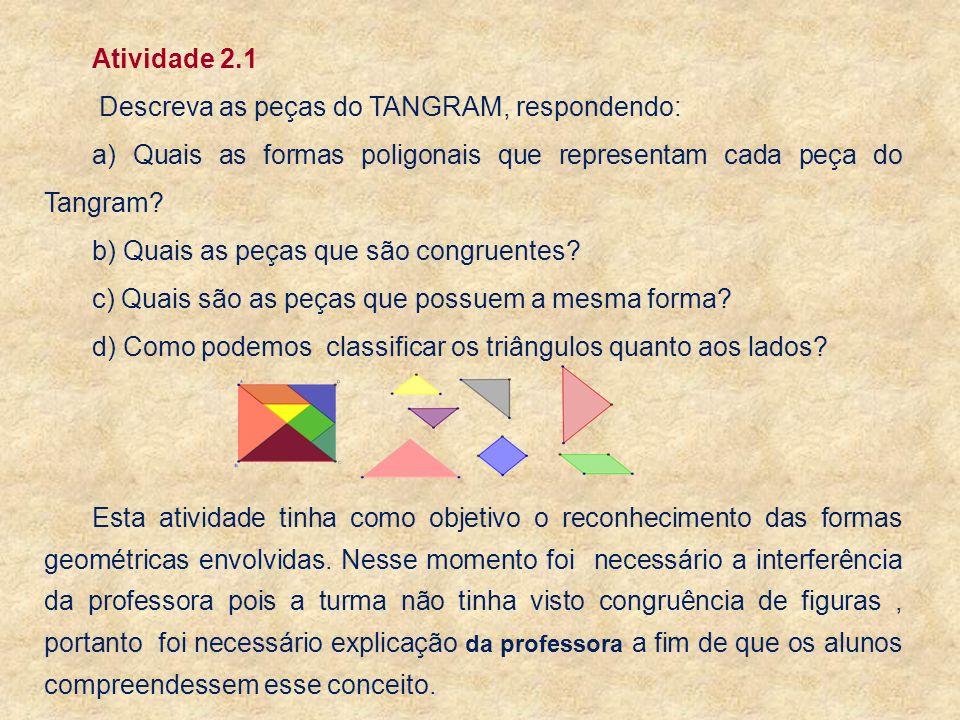 a) Quais as formas poligonais que representam cada peça do Tangram