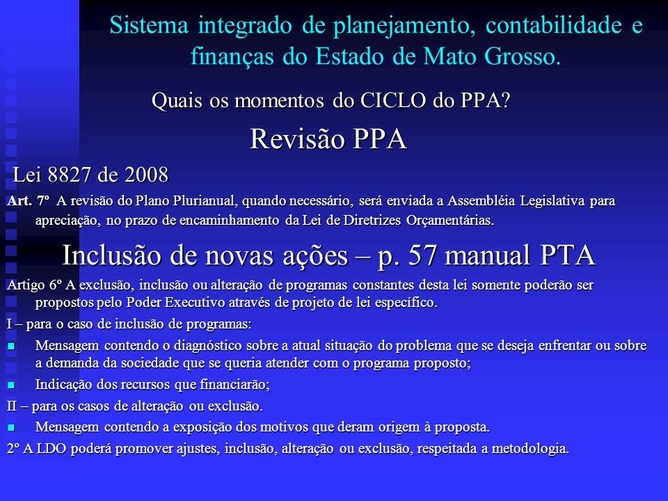 Inclusão de novas ações – p. 57 manual PTA