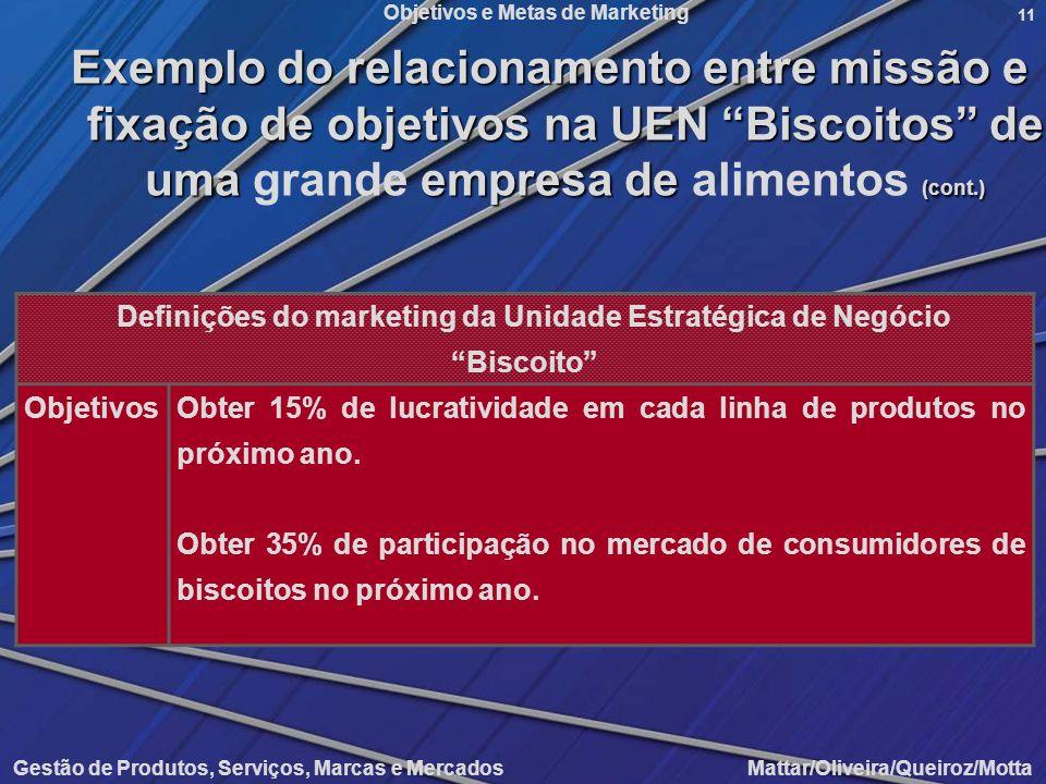 Definições do marketing da Unidade Estratégica de Negócio Biscoito