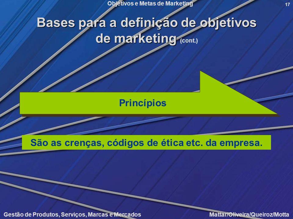 Bases para a definição de objetivos de marketing (cont.)
