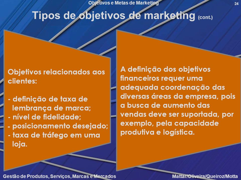Tipos de objetivos de marketing (cont.)