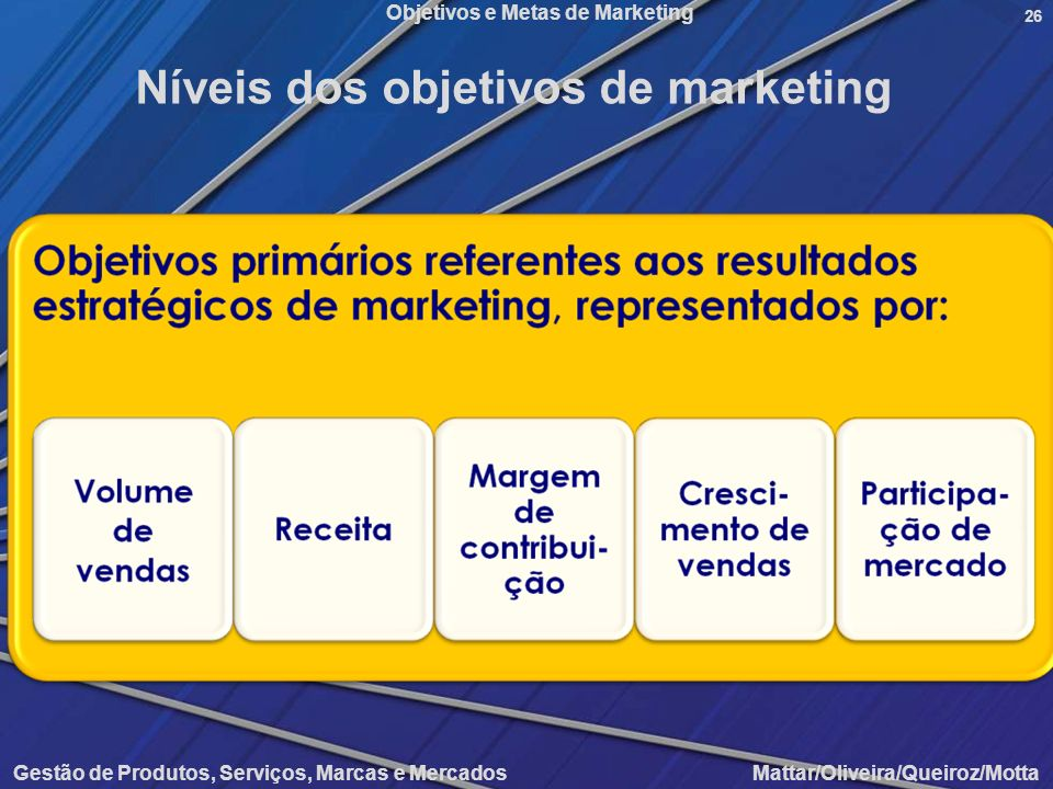 Níveis dos objetivos de marketing