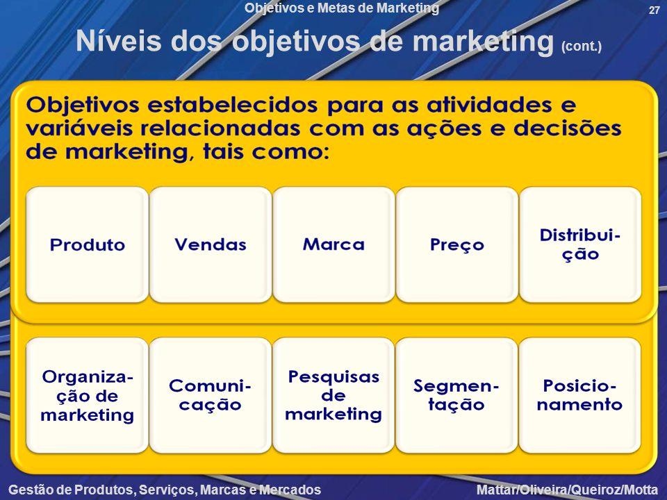 Níveis dos objetivos de marketing (cont.)