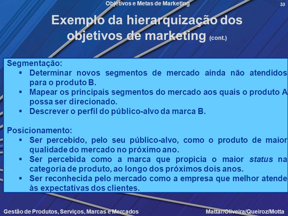 Exemplo da hierarquização dos objetivos de marketing (cont.)