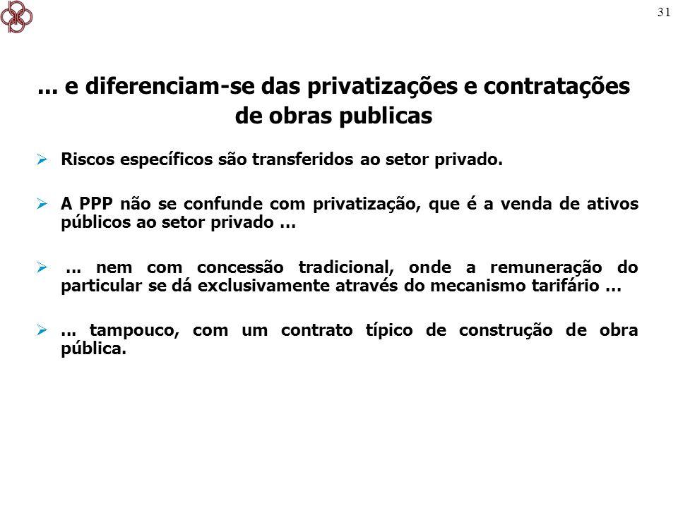 ... e diferenciam-se das privatizações e contratações de obras publicas