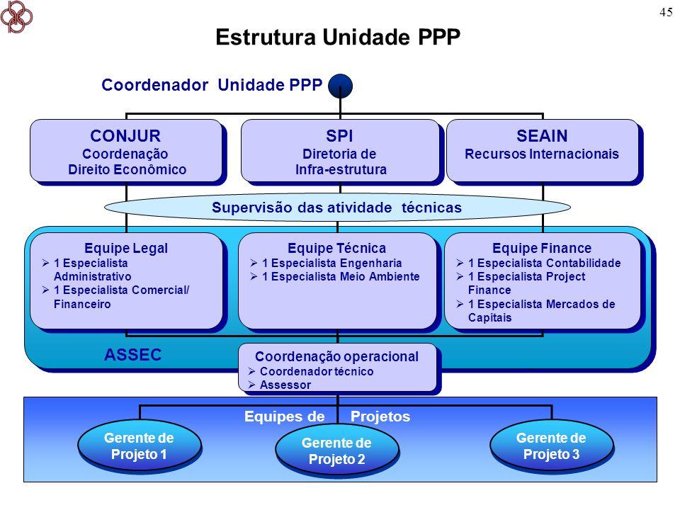 Estrutura Unidade PPP Coordenador Unidade PPP CONJUR SPI SEAIN ASSEC