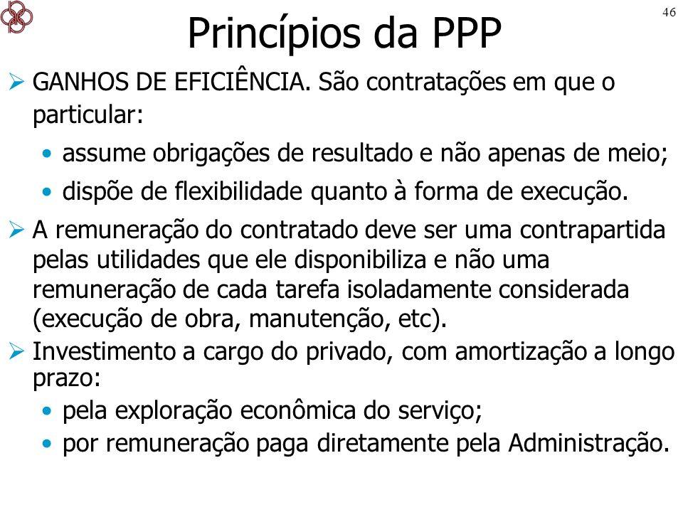 Princípios da PPP GANHOS DE EFICIÊNCIA. São contratações em que o particular: assume obrigações de resultado e não apenas de meio;
