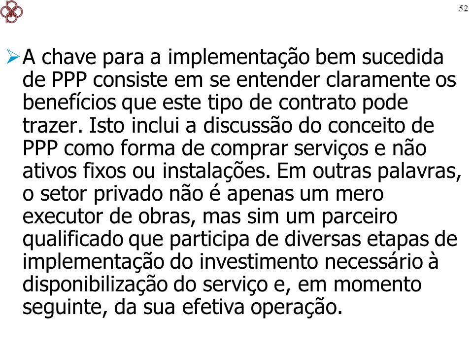 A chave para a implementação bem sucedida de PPP consiste em se entender claramente os benefícios que este tipo de contrato pode trazer.