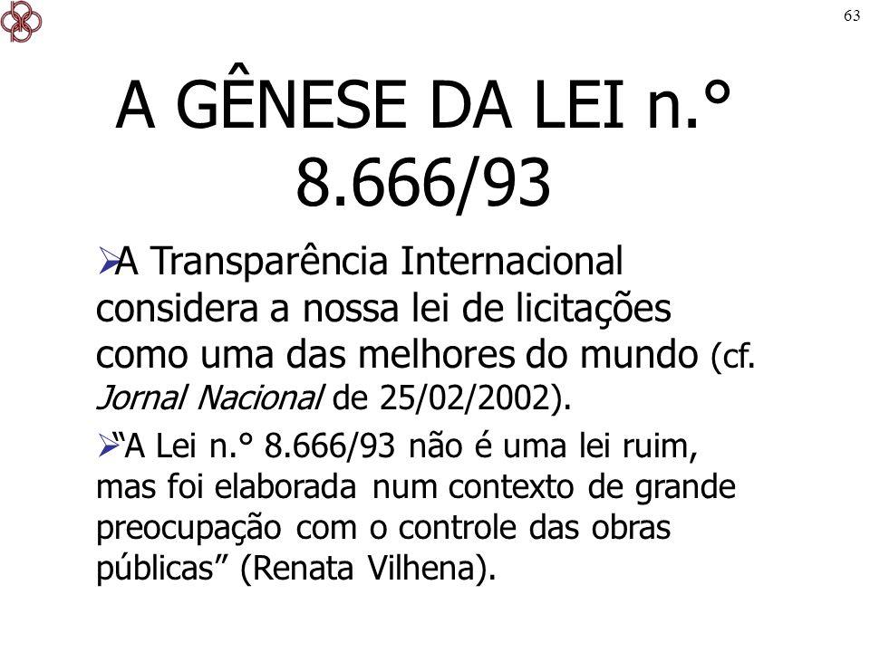 A GÊNESE DA LEI n.° 8.666/93