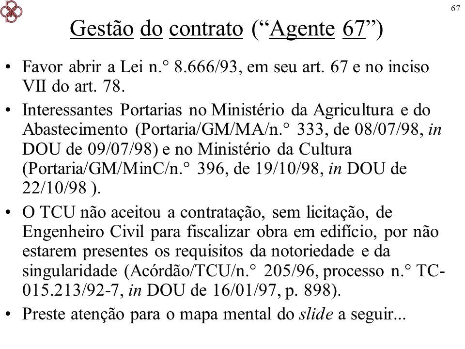 Gestão do contrato ( Agente 67 )