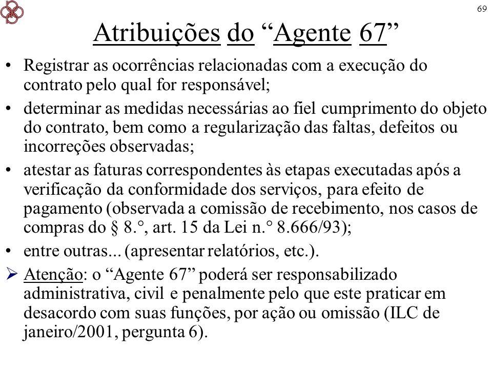 Atribuições do Agente 67