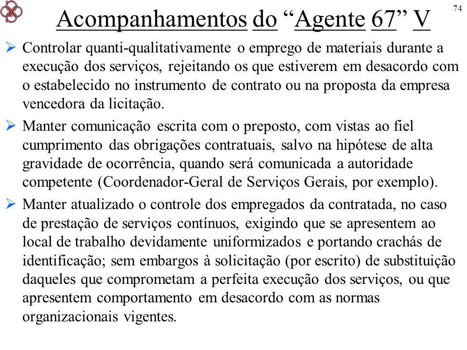 Acompanhamentos do Agente 67 V