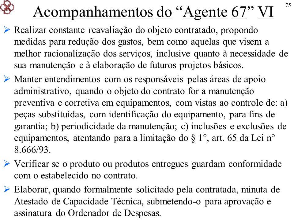 Acompanhamentos do Agente 67 VI