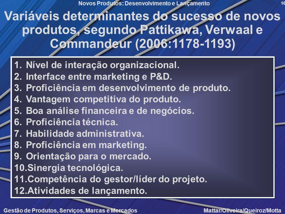 Variáveis determinantes do sucesso de novos produtos, segundo Pattikawa, Verwaal e Commandeur (2006:1178-1193)