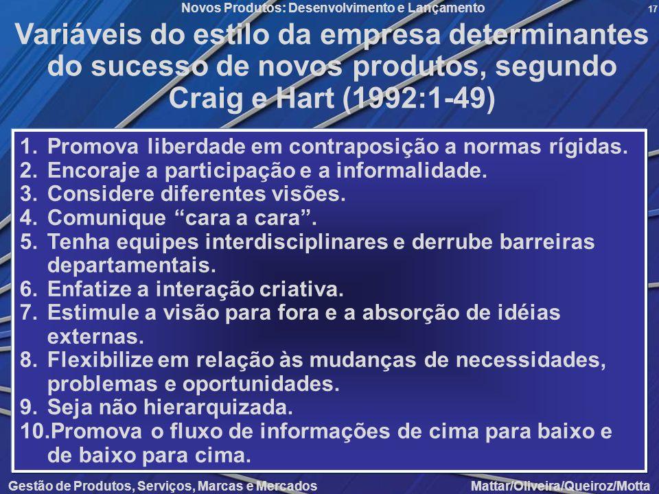 Variáveis do estilo da empresa determinantes do sucesso de novos produtos, segundo Craig e Hart (1992:1-49)
