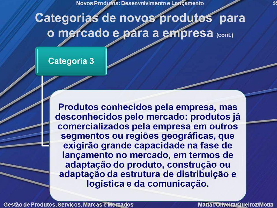 Categorias de novos produtos para o mercado e para a empresa (cont.)