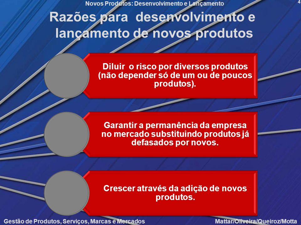 Razões para desenvolvimento e lançamento de novos produtos
