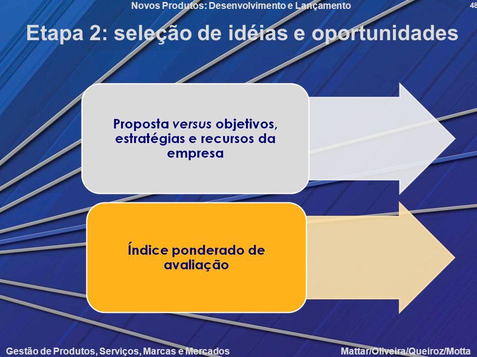 Etapa 2: seleção de idéias e oportunidades