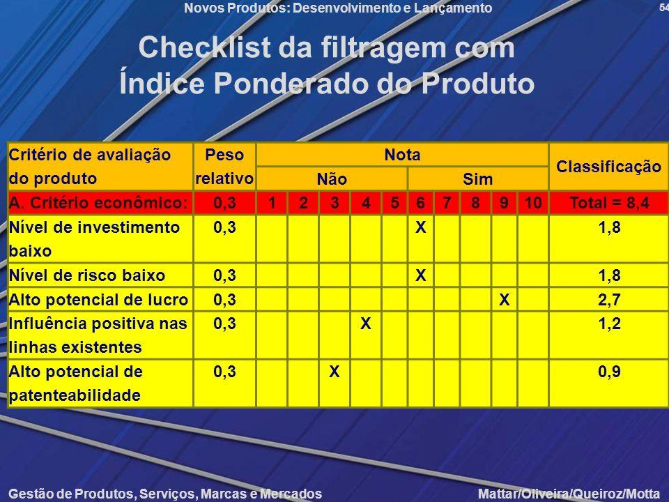 Checklist da filtragem com Índice Ponderado do Produto