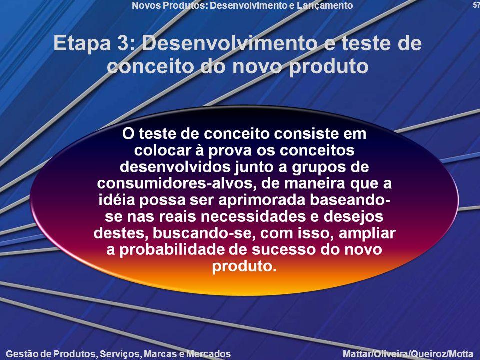 Etapa 3: Desenvolvimento e teste de conceito do novo produto