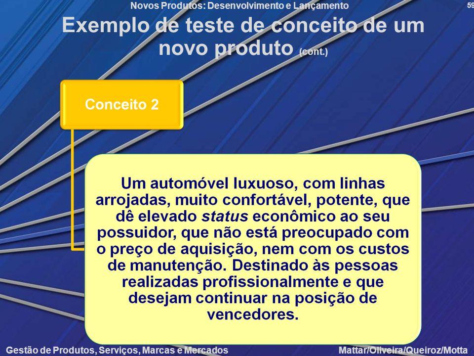 Exemplo de teste de conceito de um novo produto (cont.)