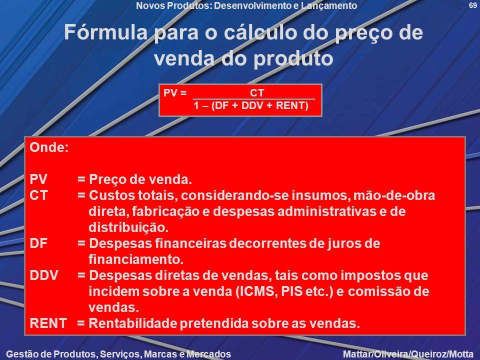 Fórmula para o cálculo do preço de venda do produto