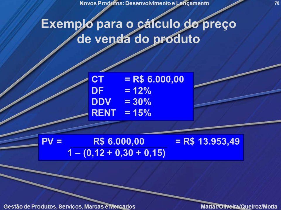 Exemplo para o cálculo do preço