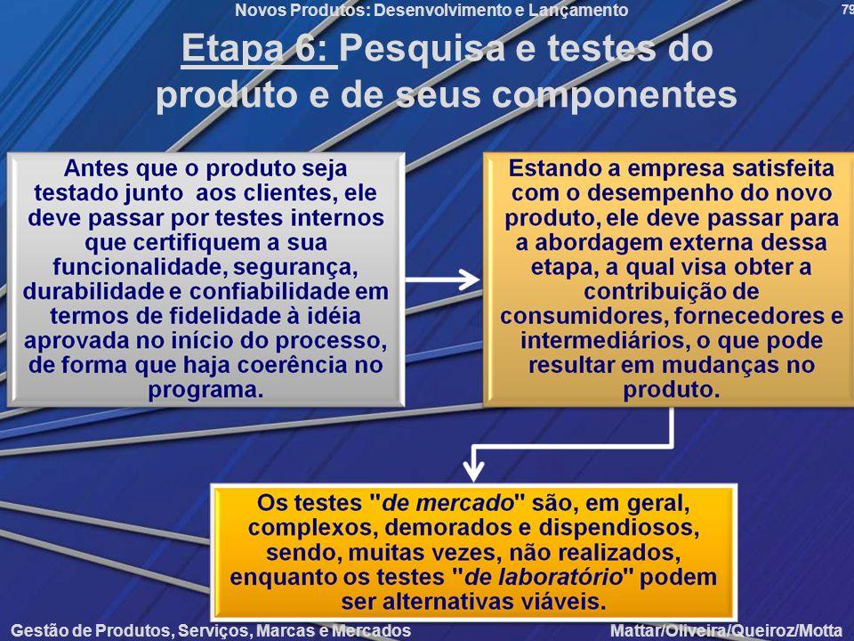 Etapa 6: Pesquisa e testes do produto e de seus componentes