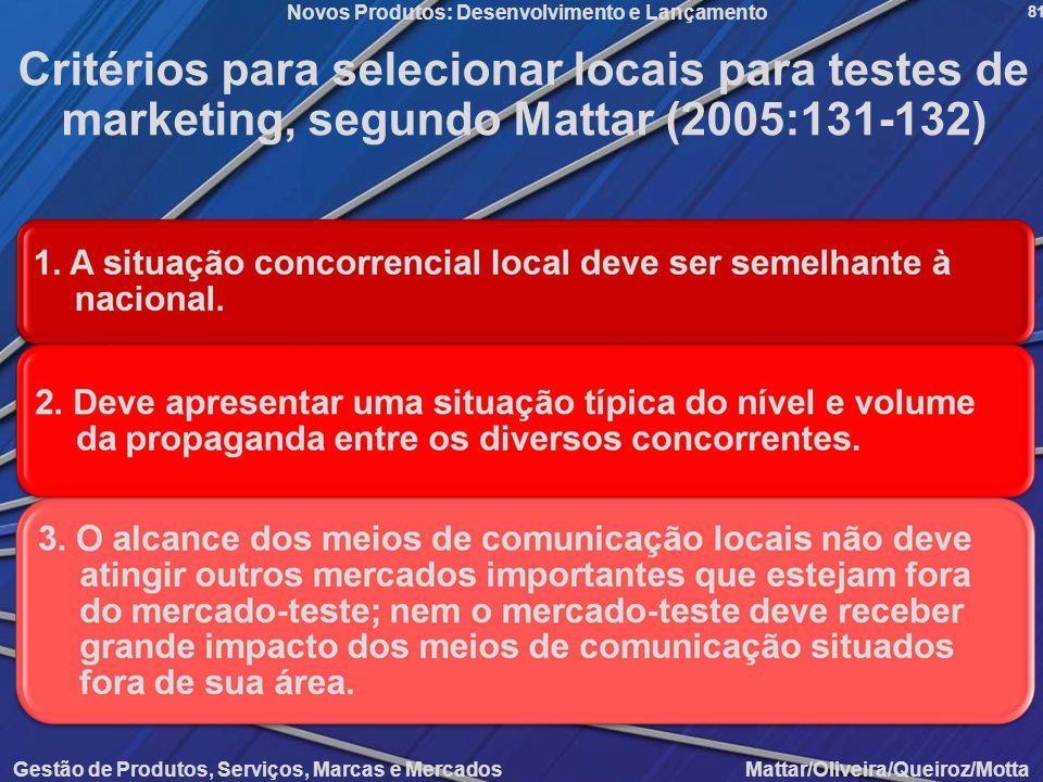 Critérios para selecionar locais para testes de marketing, segundo Mattar (2005:131-132)