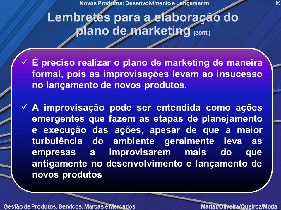 Lembretes para a elaboração do plano de marketing (cont.)