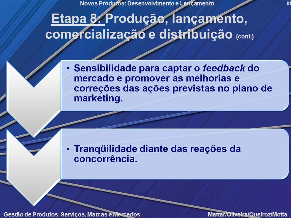 Etapa 8: Produção, lançamento, comercialização e distribuição (cont.)