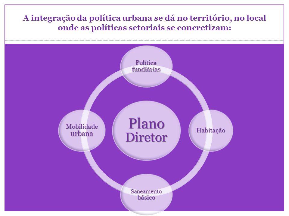 A integração da política urbana se dá no território, no local onde as políticas setoriais se concretizam: