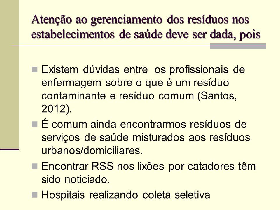 Atenção ao gerenciamento dos resíduos nos estabelecimentos de saúde deve ser dada, pois