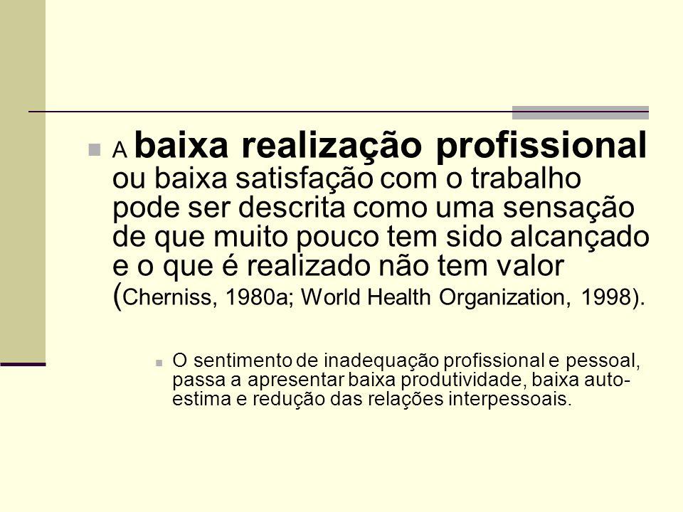 A baixa realização profissional ou baixa satisfação com o trabalho pode ser descrita como uma sensação de que muito pouco tem sido alcançado e o que é realizado não tem valor (Cherniss, 1980a; World Health Organization, 1998).