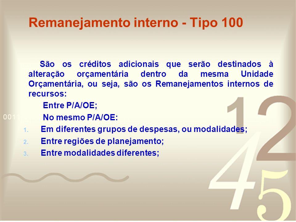 Remanejamento interno - Tipo 100