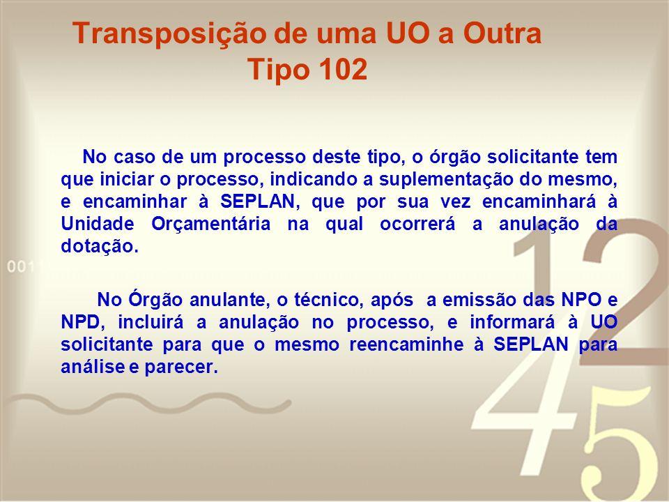 Transposição de uma UO a Outra Tipo 102