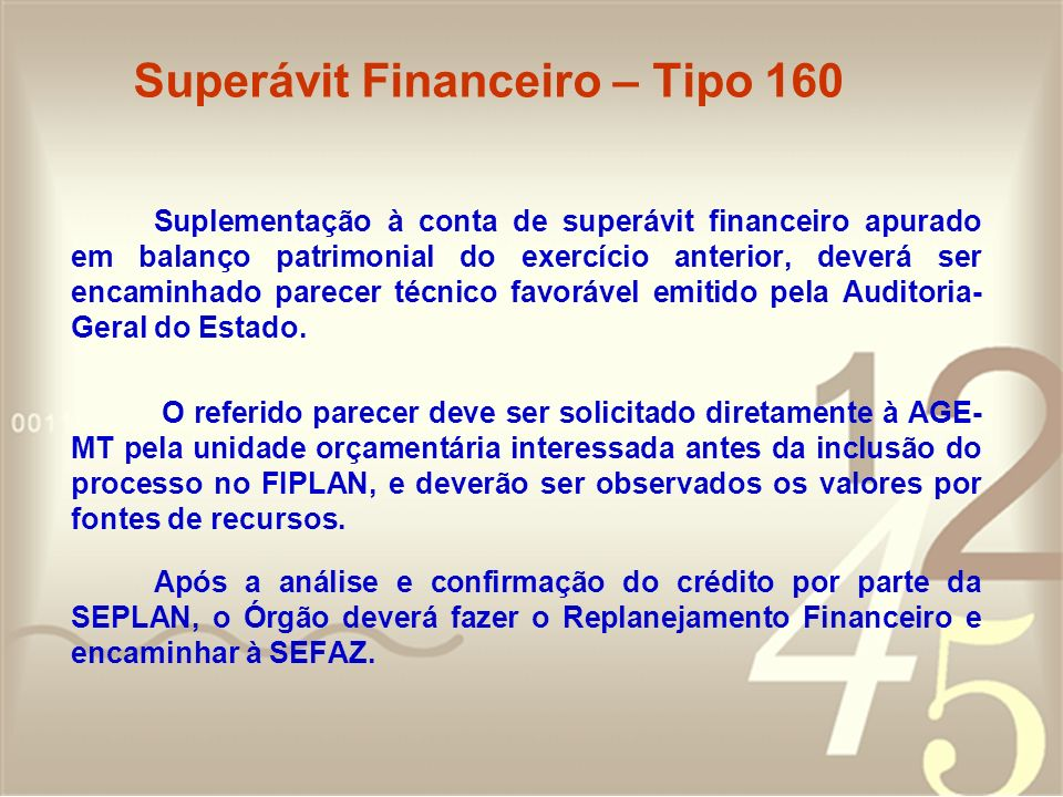 Superávit Financeiro – Tipo 160