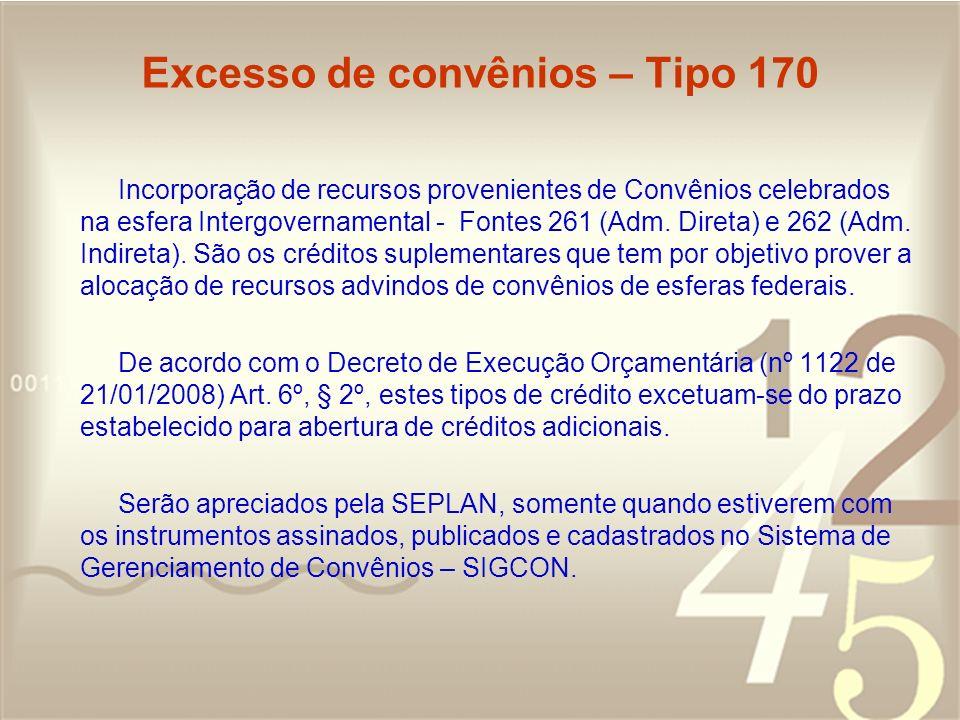Excesso de convênios – Tipo 170