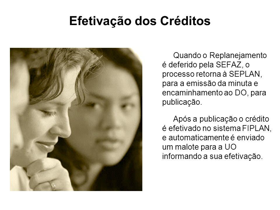 Efetivação dos Créditos