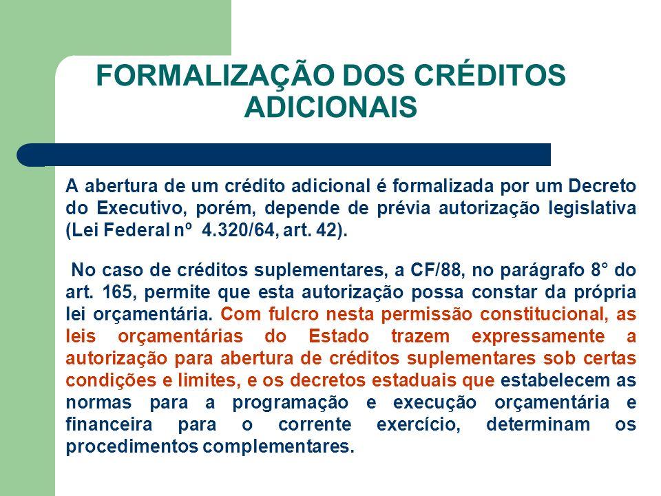 FORMALIZAÇÃO DOS CRÉDITOS ADICIONAIS