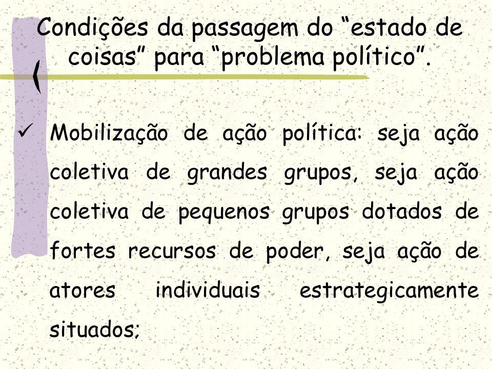 Condições da passagem do estado de coisas para problema político .