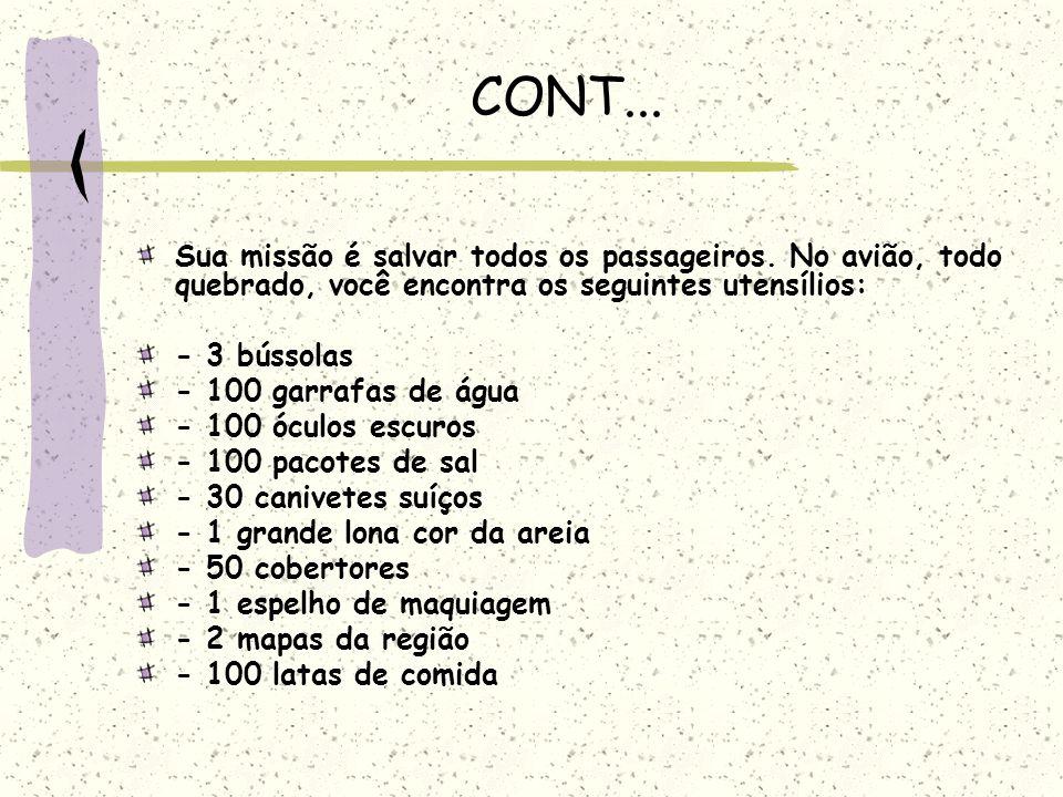CONT... Sua missão é salvar todos os passageiros. No avião, todo quebrado, você encontra os seguintes utensílios: