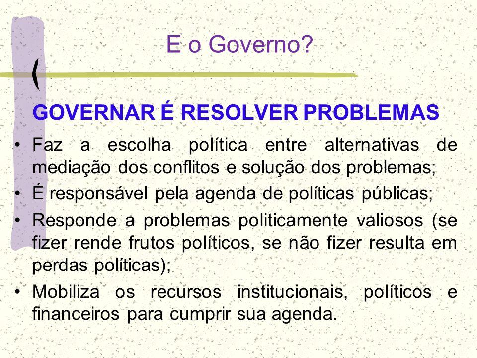 GOVERNAR É RESOLVER PROBLEMAS