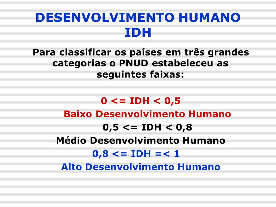 DESENVOLVIMENTO HUMANO IDH