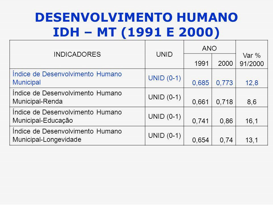 DESENVOLVIMENTO HUMANO IDH – MT (1991 E 2000)