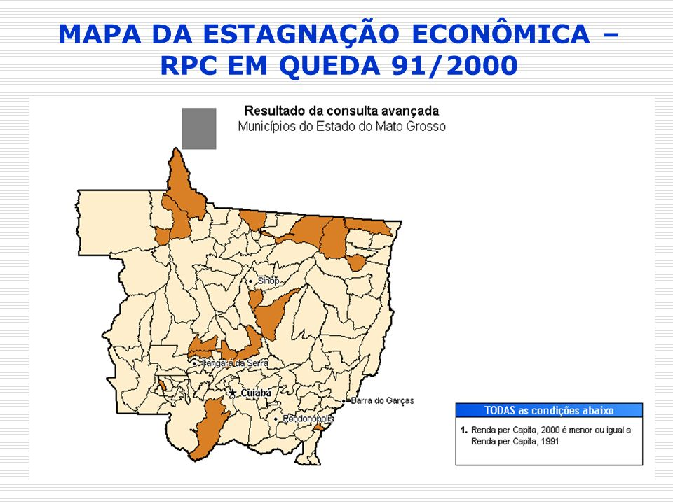 MAPA DA ESTAGNAÇÃO ECONÔMICA – RPC EM QUEDA 91/2000