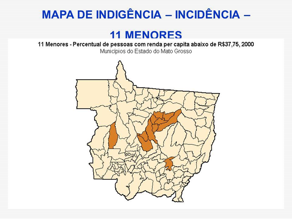 MAPA DE INDIGÊNCIA – INCIDÊNCIA –