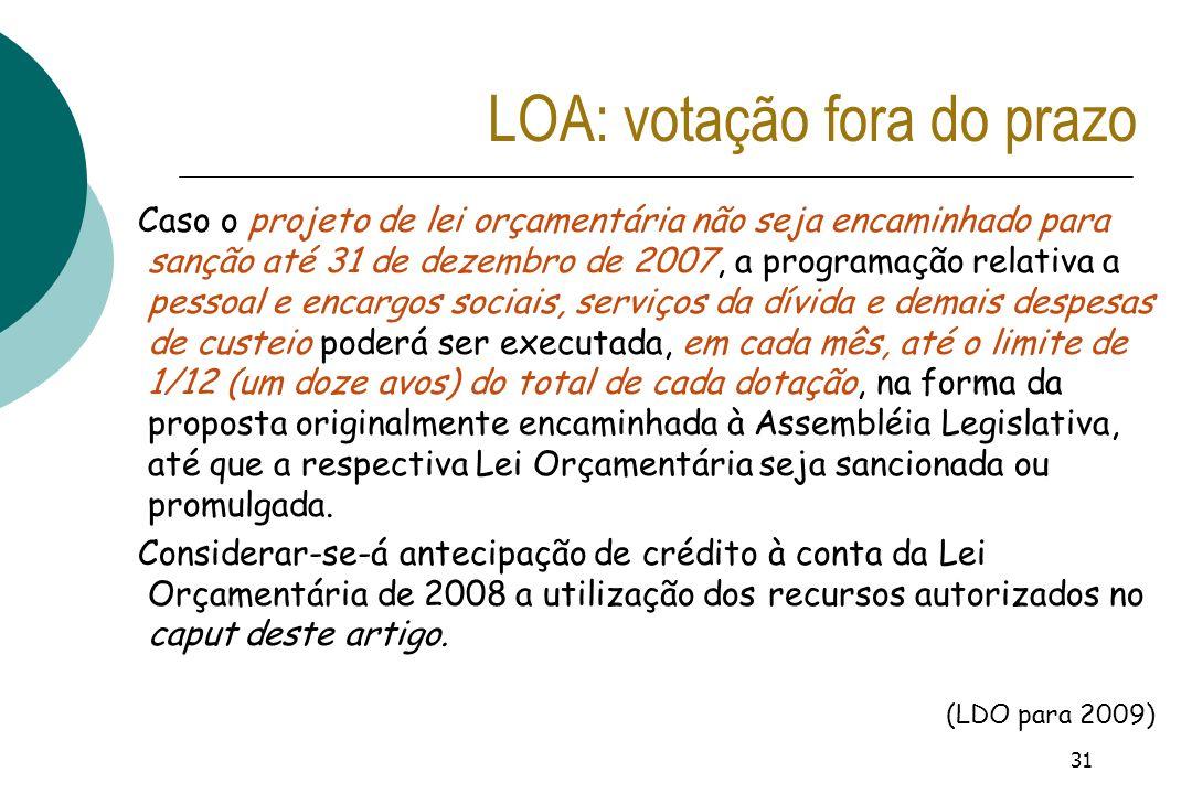 LOA: votação fora do prazo