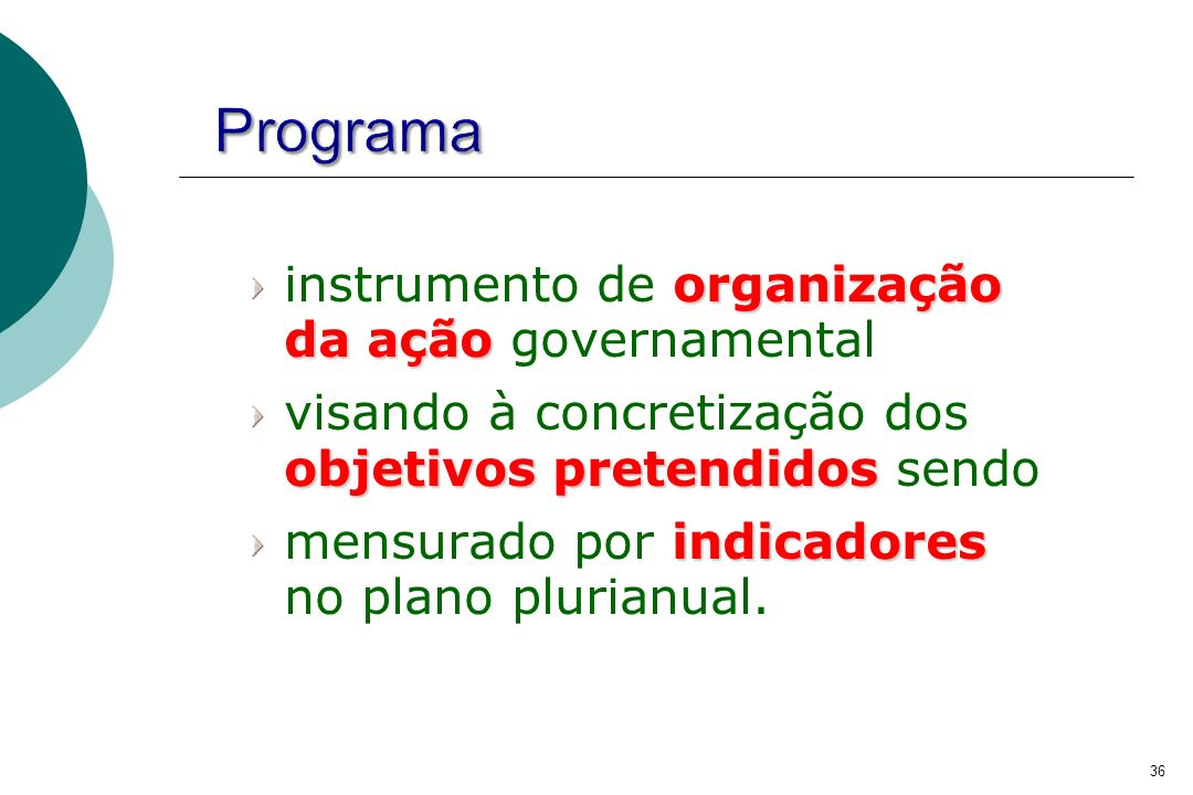 Programa instrumento de organização da ação governamental