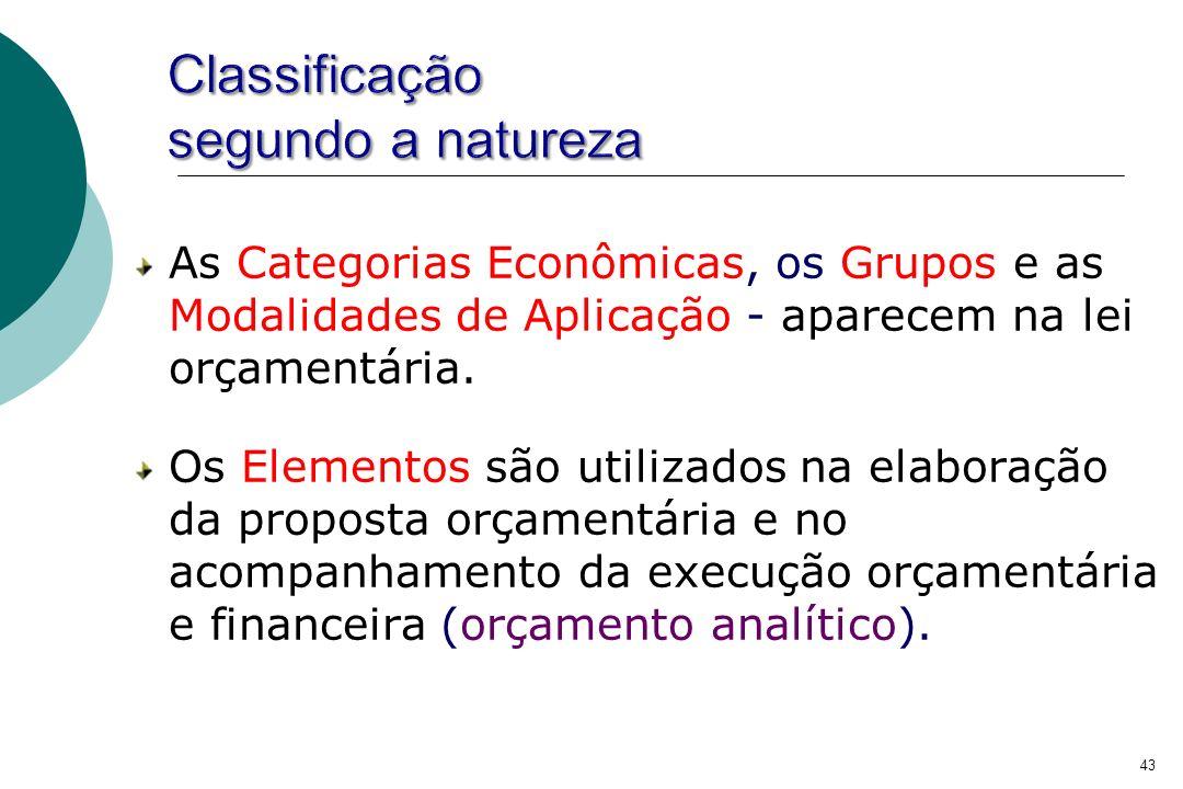 Classificação segundo a natureza